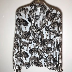 Animal Print Cats Popover Blouse Top by H&M sz 4